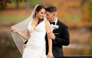 Autumn wedding couple in Northern NJ at Brooklake venue