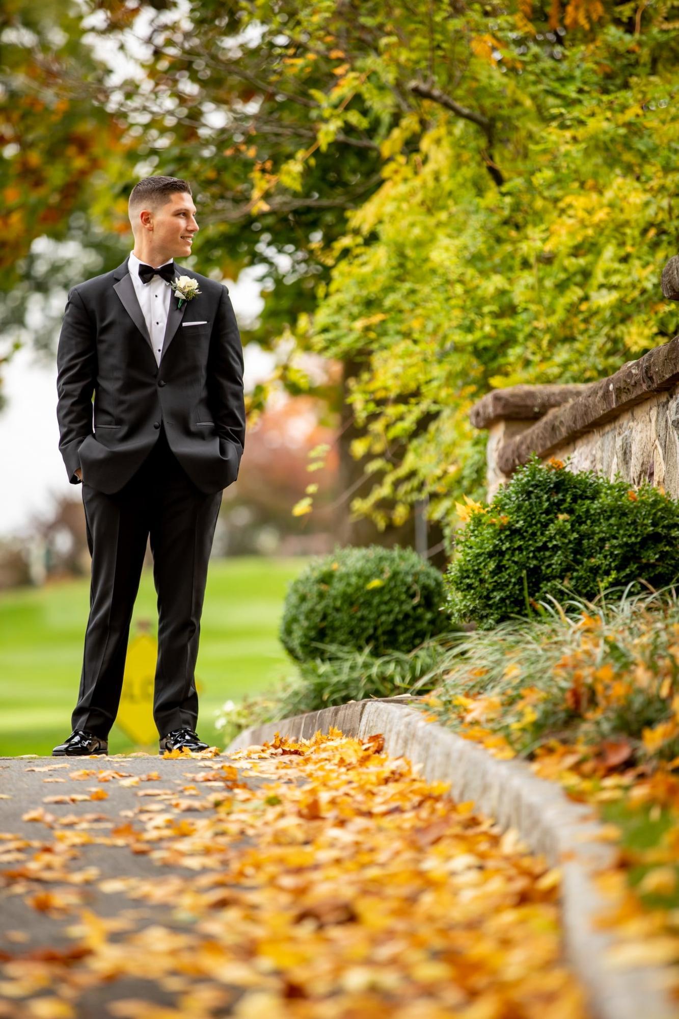 Groom outdoor wedding in the fall in Northern NJ Morris County Brooklake