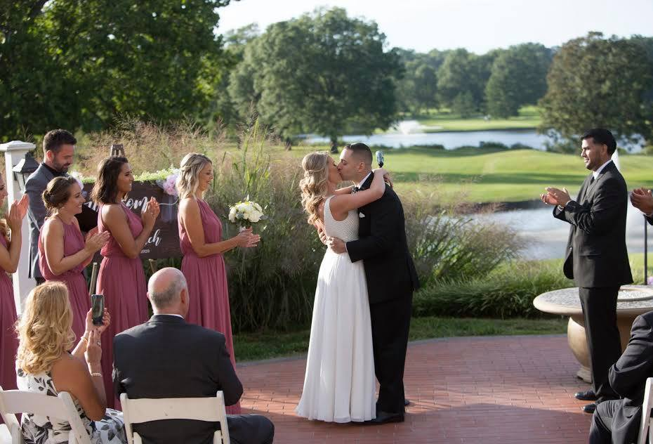 Bride and groom wedding ceremony outdoors at Brooklake in Northern NJ