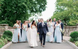 Wedding party at outdoor celebration at Brooklake in Northern NJ, Morris County
