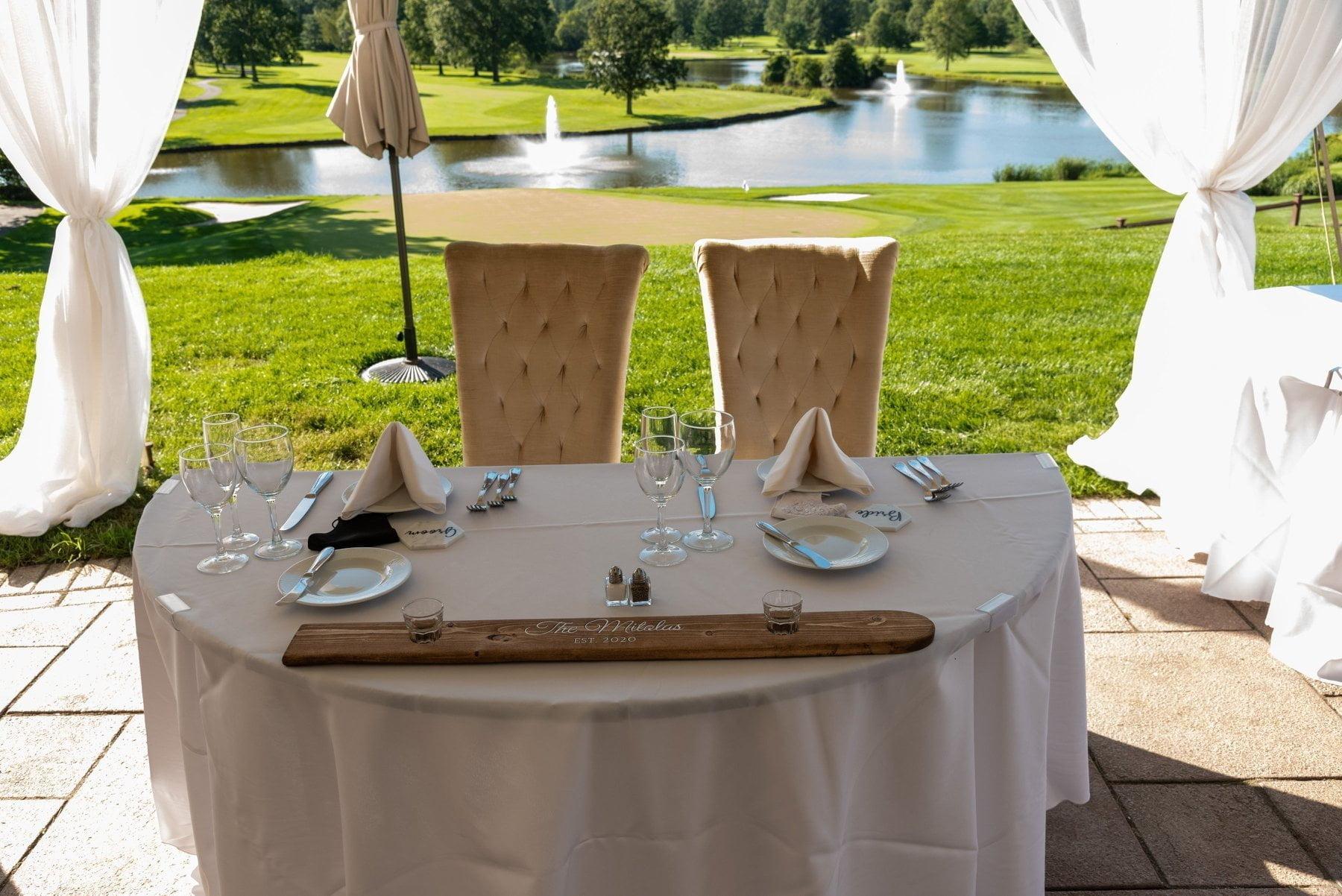Bride and groom table at outdoor wedding Morris County venue, Brooklake, Northern NJ