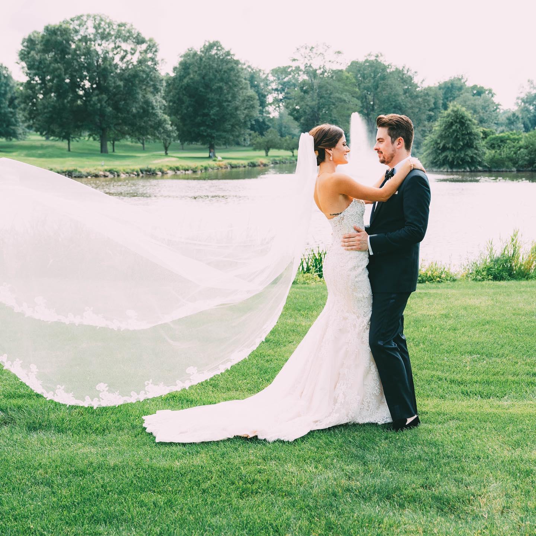 Bride & groom at outdoor wedding venue in Northern NJ at Brooklake