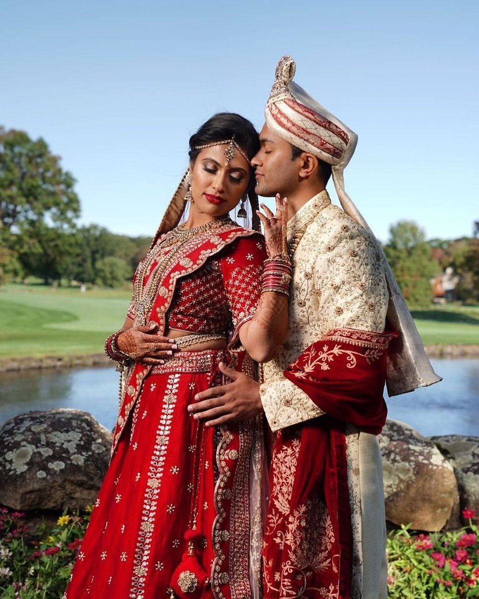 Indian wedding couple in Northern NJ at Brooklake in Morris County