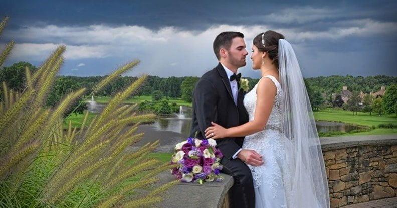 Bride & groom outdoors at wedding venue in Northern NJ at Brooklake
