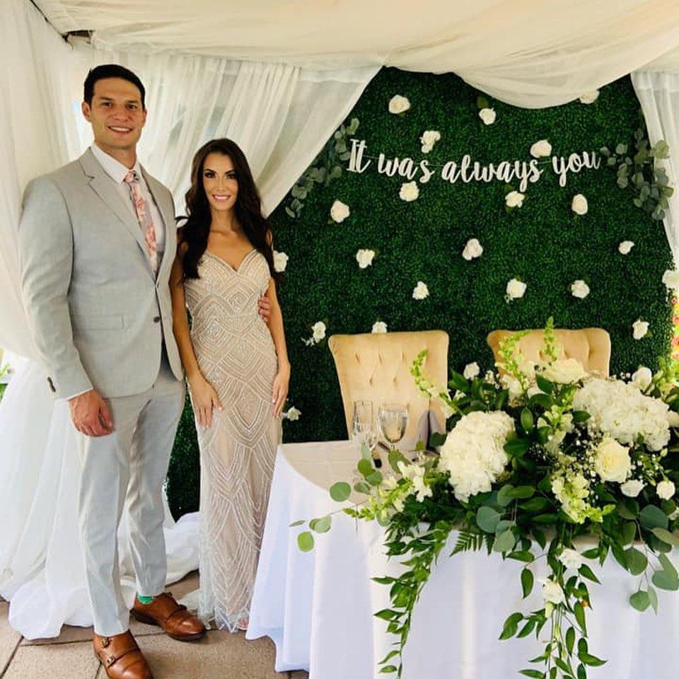 Bride & groom at outdoor wedding reception in Northern NJ at Brooklake