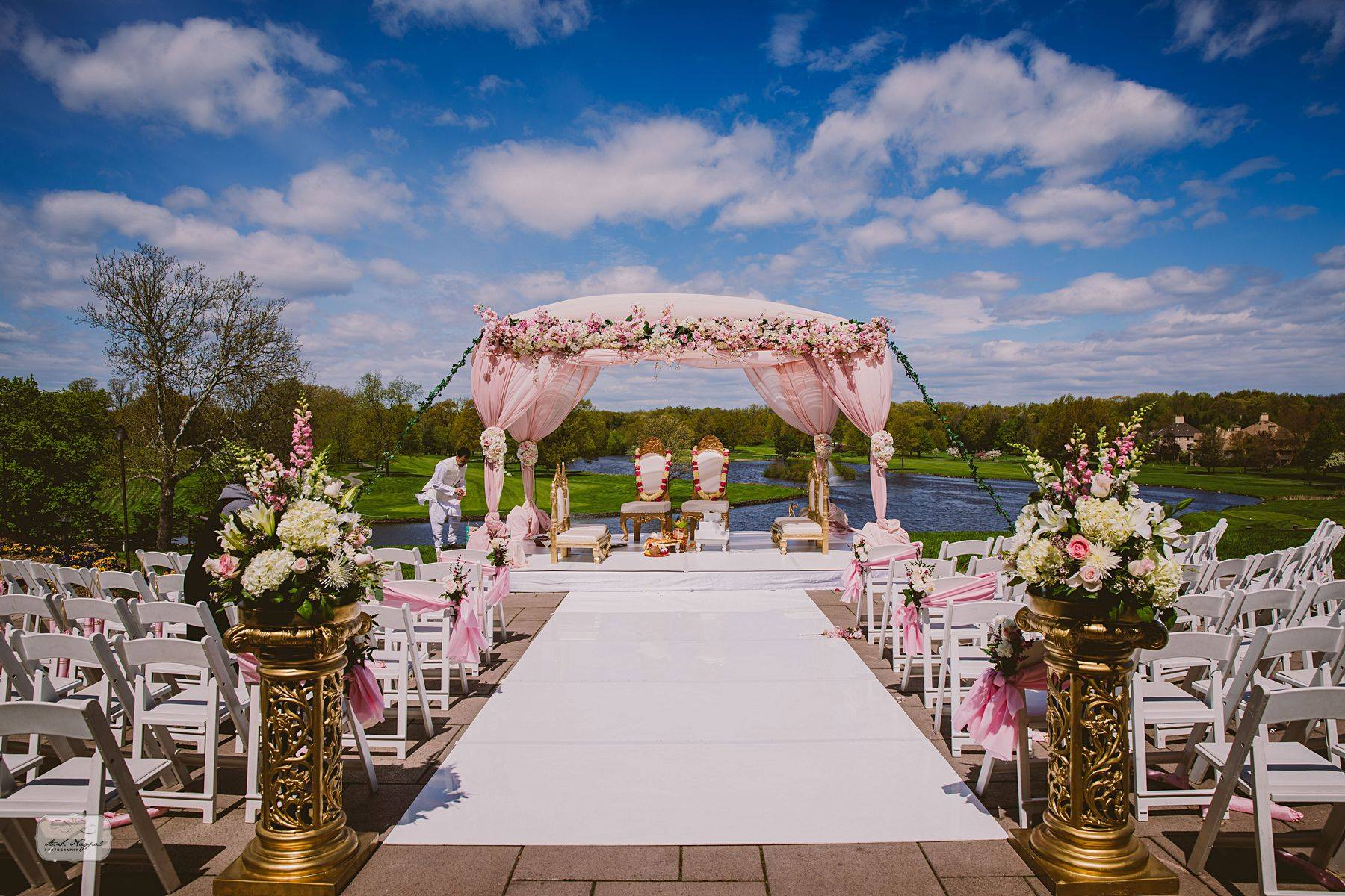 Outdoor wedding ceremony in Northern NJ at Brooklake in Morris County