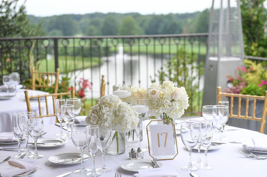 Outdoor wedding reception table settings at Brooklake in Northern NJ, Morris County