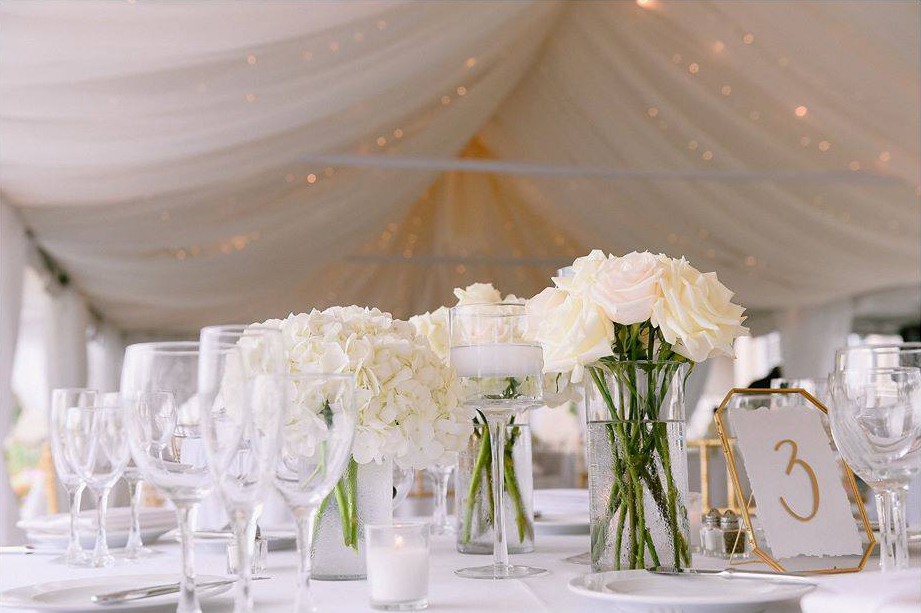 Outdoor wedding reception decor at Brooklake in Northern NJ